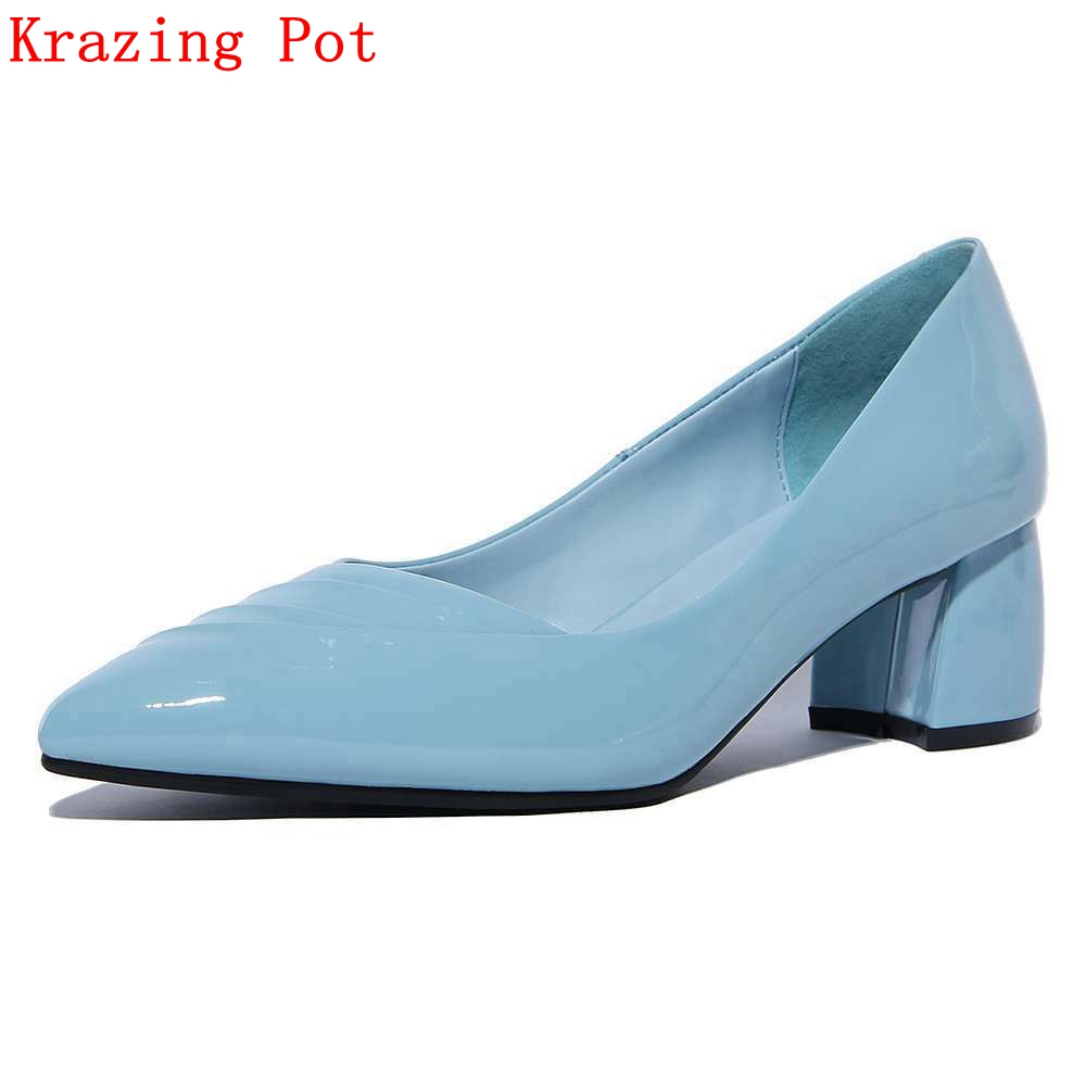 2017 Krazing Pot Brand Women Shoes Fashion Genuine Leather Pointed Toe Lazy High Heels Pink Blue Nude Pumps Office Lady Shoe L63 2017 krazing pot shoes women fashion med heels genuine leather pearl pumps slip on lady shoes square toe nude work pumps l3f2