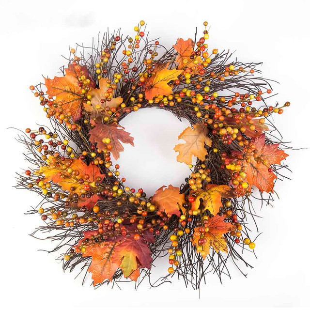 50cm Berry Fall Maple Leaves Wall Door Hanging Fake Artificial Flower Wreath Garland Thanksgiving Day Wedding  sc 1 st  AliExpress.com & 50cm Berry Fall Maple Leaves Wall Door Hanging Fake Artificial ...