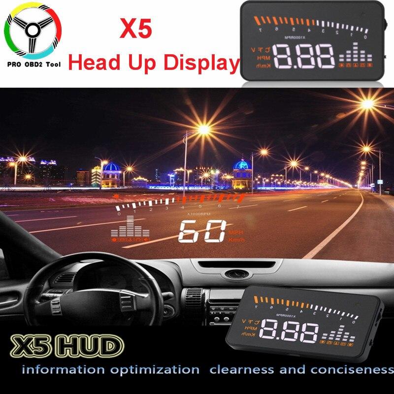 Безопасный дешевый дисплей на лобовое стекло X5 HUD 3 дюйма, автомобильный Стайлинг, сигнализация превышения скорости, цифровой проектор на ло...