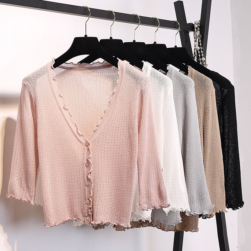 Women Ruffles V-Neck Knitted Casual Sweaters Cardigans Lady Short Sleeve Knitting Outwear Cardigan Top for Female
