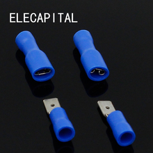 4.8mm Female Male Electrical & Wiring Connector Insulated Crimp Terminal Spade Blue