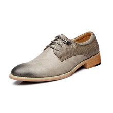Retro Men Formal Leather Shoes British Business Office Shoes Height Increasing Dress Derby Shoes