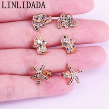 10Pair Rainbow cz hamsa hand/Elephant earring mini cute delicate gold jewelry for women fashion