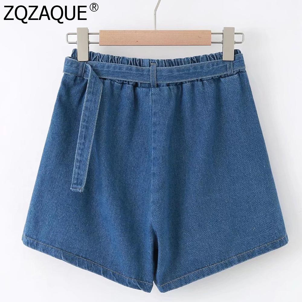 2019 Summer Women's Denim Shorts Loose Short High Waist With Sashes For Girls Nice Wide Leg Shorts New Casual All-Match