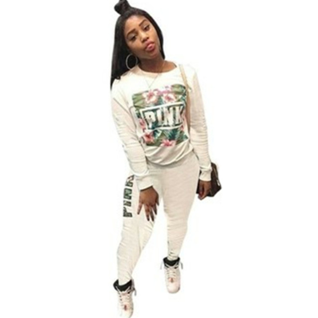 ac70d7de5f48 Floral Print Full Sleeve Winter tracksuit Women Set Overalls Sweatshirt+pant  Lady fashion sexy two
