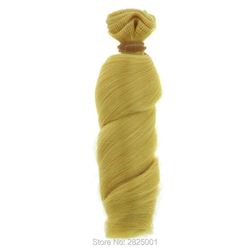 1Pcs 15*100CM BJD Pruik Hoge Temperatuur Mode Multicolor Blauw Gouden Bruin Roze Krullend Pop Haar Voor 1/3 1/4 BJD DIY Voor Barbie