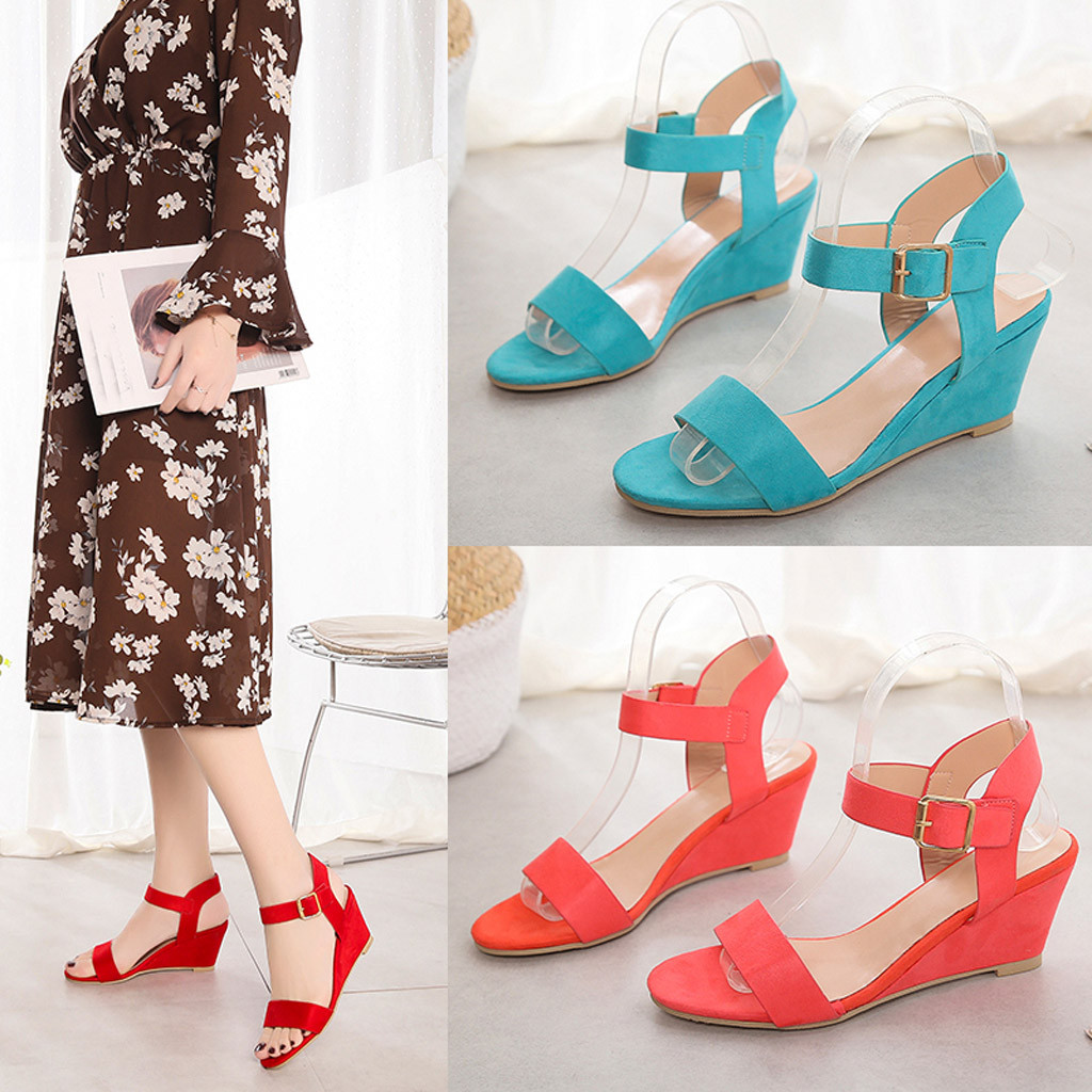 Summer Shoes Sandals Buckle-Strap Wedges Heel Fashion Women Solid for Feminina