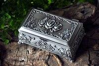 Роза тиснением Готический Европейский классический Принцесса металла ювелирных поле на память сувенир маркер коробка случай 2123
