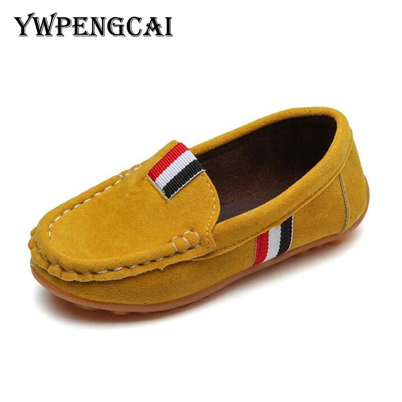 Spring Autumn Kids Flock Pu Leather Casual Shoes Boys Loafers All Sizes 21-36 Boys Slip-on Soft Breathable Shoes 7hv0736