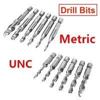 DANIU 6 pçs/set HSS 1/4 Polegada Combinação Broca Torneira Conjunto UNC ou Metric Hex Shank Rebarbas Countersink Brocas de Aço de Alta Velocidade