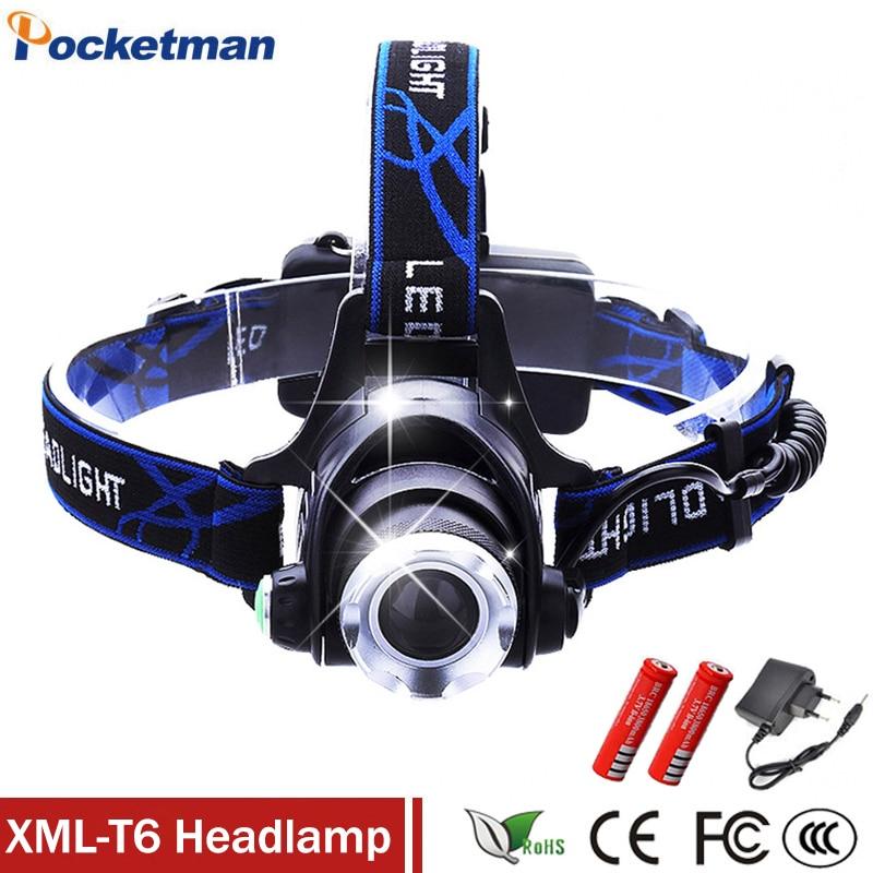 LED Phare T6 led projecteur zoom 18650 phares tête lampe 2000lm XML-T6 zoomables lampe frontale LED BIKE light