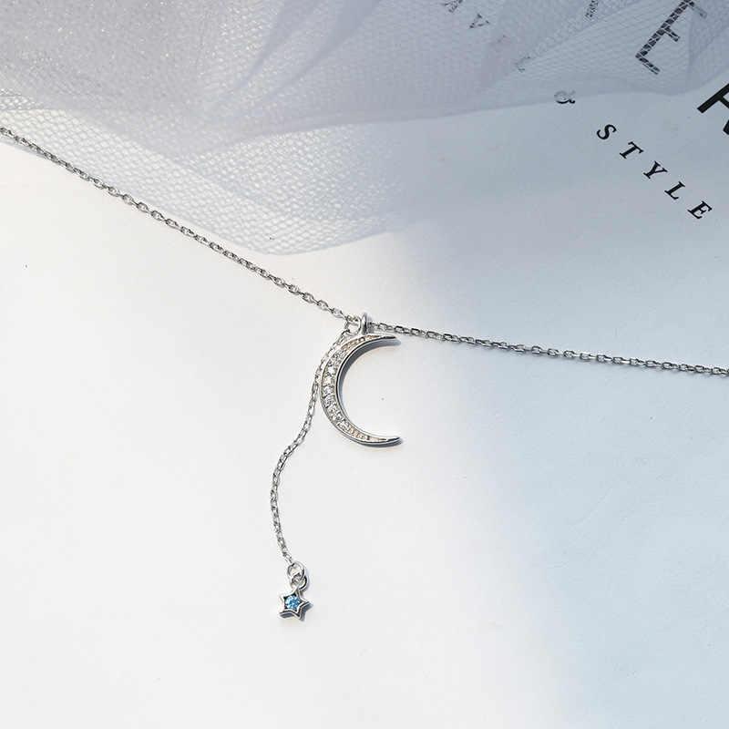 Xiyanike 925 Sterling Perak Multi Lapisan Kristal Bulan Bintang Liontin Kalung Menarik Liontin Perhiasan Custom untuk Wanita Hadiah