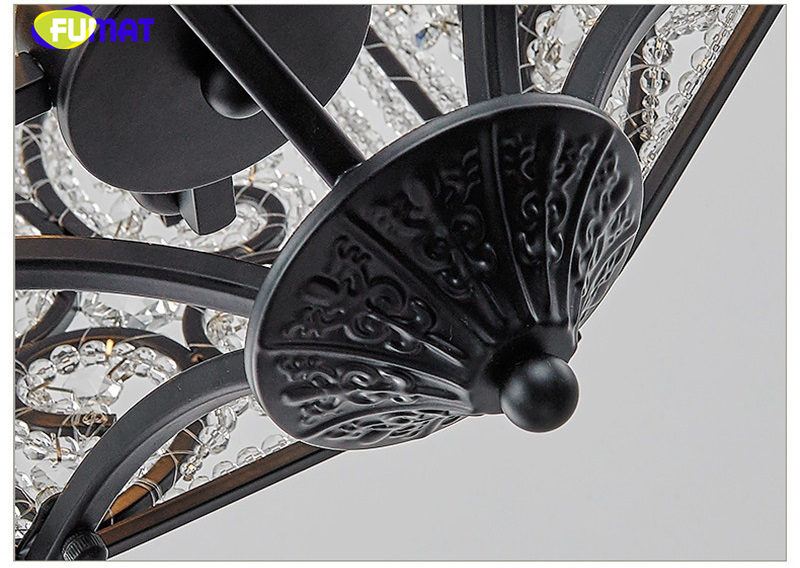 FUMAT Crystal K9 Pendant Lamps Anchor Crown Form Lights Iron Flower Crystal Clear Gold Black Lighting Body hanging light fixture 4