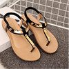 2017 New Fashion Summer Three Color Sandals Clip Fashion Comfy Women S Flat With Beads For