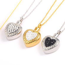 Urn Necklace for Ashes Heart Cremation Memorial Keepsake Pendant Necklace Jewelry Memorial Pendant and zircon Stainless Steel цена 2017