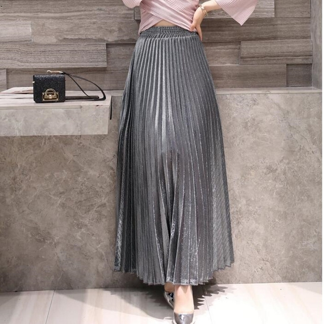 be99bdd8d0 skirts women girl 2018 Spring New Products Pleated Pleated A-line Skirt  Large Skirt High