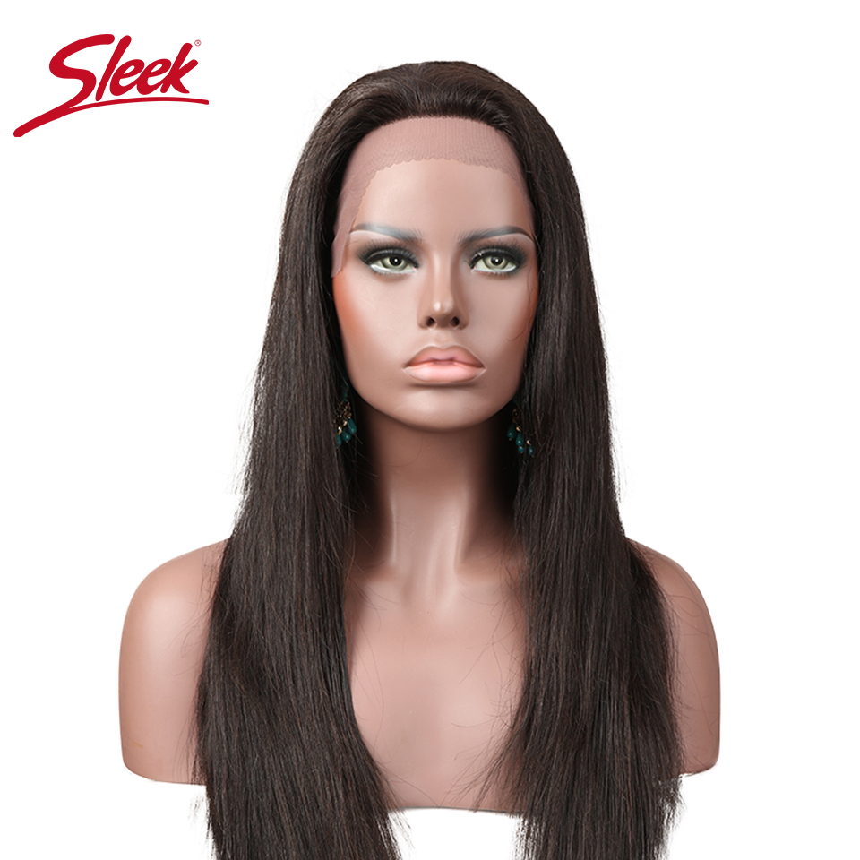 Sleek Hair 13x4 Lace Front Human Hair Wigs For Women Natural Color Brazilian Straight Remy Hair Wigs Free Shipping