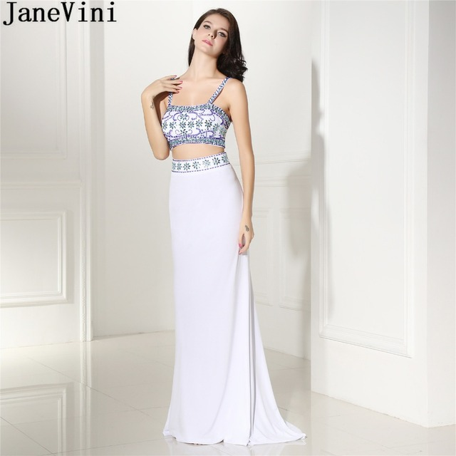 08f2b1c0f72 JaneVini Vintage 2 Pieces White Girls Prom Dress Beaded Long Mermaid  Chiffon Bridesmaid Wedding Guest Party Dresses With Crystal