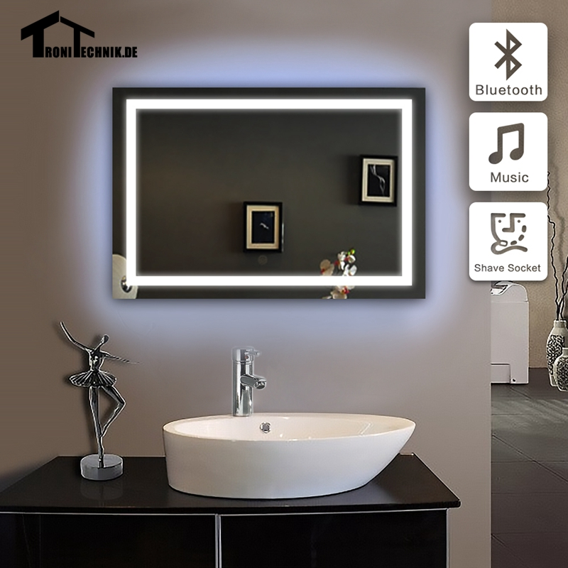 Uk shipping 50x70cm 90 240v bluetooth illuminated wall for Mirror 50 x 70