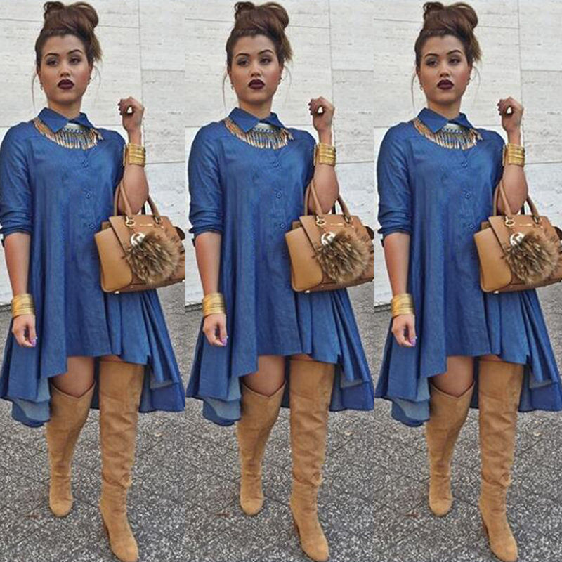 d0f0a27be3f Sexy Womens Denim Jeans Blouse Shirt Tops Party Mini dress Clubwear  Jeanswear Female Fashion Loose Casual Denim Dress