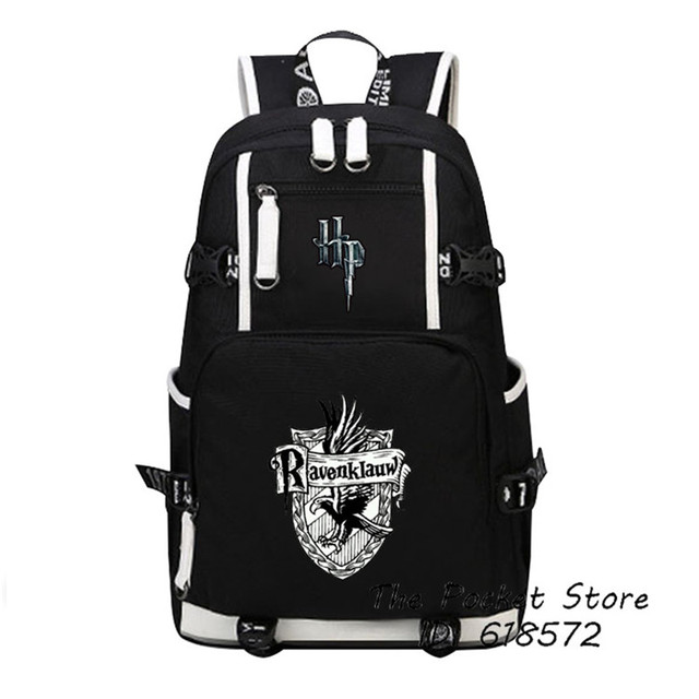 High Quality Harry Potter Gryffindor/Hufflepuff/Ravenklauw/Slytherin Hogwarts School Women Printing Backpack Canvas School Bags 4