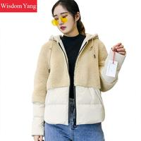 Winter Warm Sheep Shearing Coat Jackets White Khaki Wool Short Coats Hooded Cashmere Womens Oversize Woolen Overcoat Outerwear