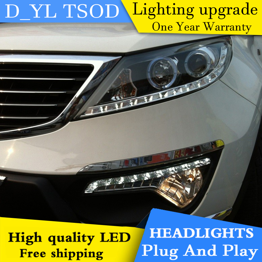 Car styling for Kia Sport LED Headlights 2011 2014 Headlamp assembly Turn lights DRL lens H7 HID xenon bi xenon lens Accessories - 4