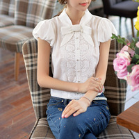 DABUWAWA Original New 2015 Brand Women S Shirts Lace Puff Sleeve Slim Vintage Summer Women Blouses