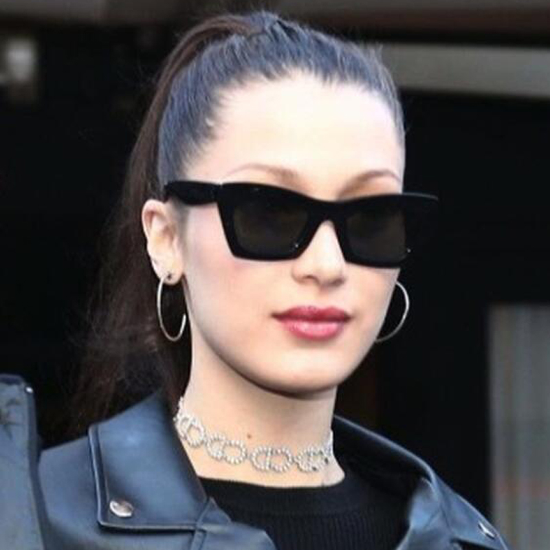 Long Keeper Fashion Women Sunglasses Square Sun Glasses Female Mirror Lense UV400 Summer Style Vintage Black Big Frame Eyewears
