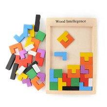 Colorido de Madera Tangram Rompecabezas Rompecabezas Juguetes Tetris Juego Preescolar Magination Intelectual Juguetes Educativos Kid Toy Regalo de Los Niños