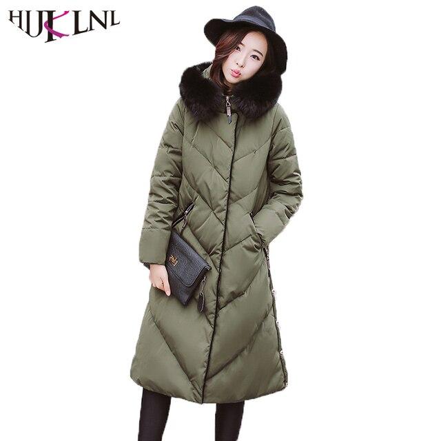 HIJKLNL Jaqueta Mulheres Para Baixo 2017 de Inverno Longos e Grossos Quente  Real Fox Gola de 2aac8729a9e0