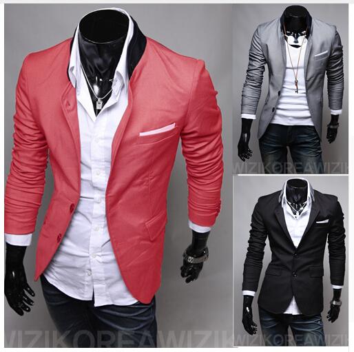 Venta caliente de Los Hombres de traje casual de negocios de color sólido fino Delgado pequeño traje Chaqueta M-4XL (Tamaño de Asia)