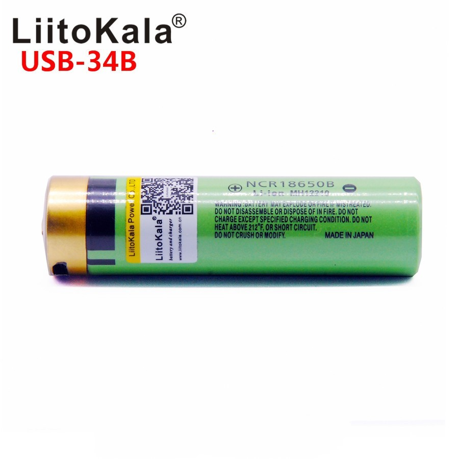 Liitokala USB-34B 18650 battery 3.7V 18650 3400 mAh Li-ion USB rechargeable battery with LED light DC charging light