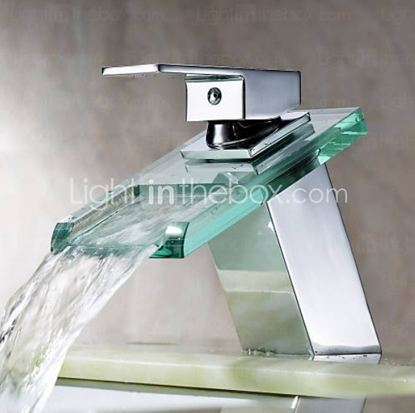 ФОТО Contemporary Waterfall Bathroom Sink Faucet with Glass Spout(Chrome Finish)