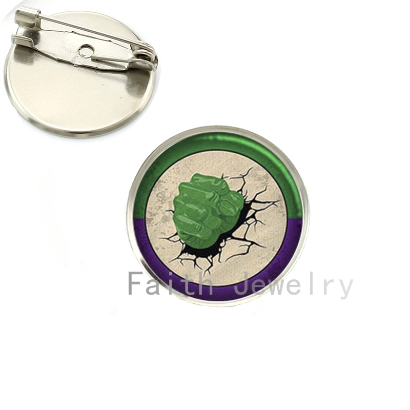 2016 new fashion men jewelry Hulk brooches case for IR Man Captain USA brooch pins glass cabochon dome badge gifts NS184 ...