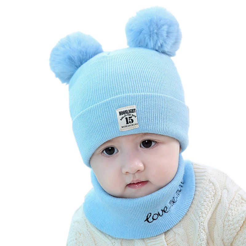 66d64afcf7c ... Baby kids girl beanie hat cap set with scarf for winter Warm Crochet  Knit toddler boy ...