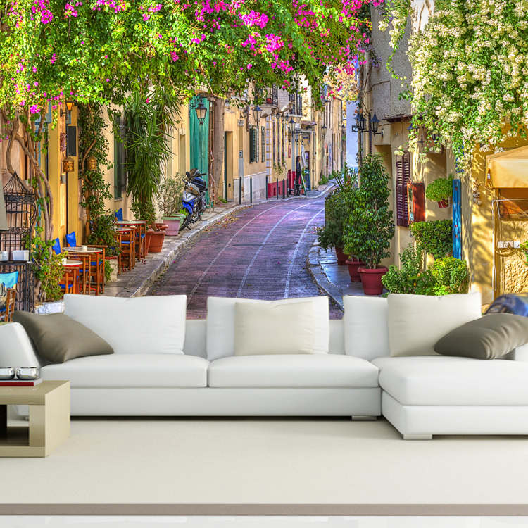 Custom 3D photo European Street sofa backdrop 3d wallpaper flowers landscape fresco bedroom 3d wall paper mural extension space