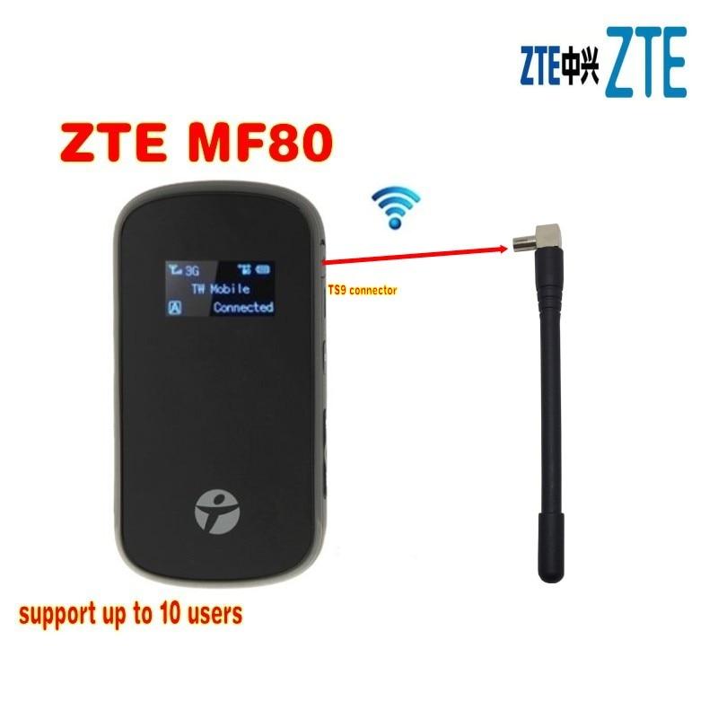Débloqué ZTE MF80 3g wifi routeur 42 mbps mobile hotspot 4g mifi dongle lte routeur pk mf60 mf63 mf90c mf90 mf910 mf95 mf96