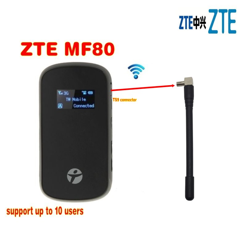 unlocked <font><b>ZTE</b></font> MF80 3g wifi router 42mbps mobile hotspot 4g mifi dongle lte router pk <font><b>mf60</b></font> mf63 mf90c mf90 mf910 mf95 mf96 image