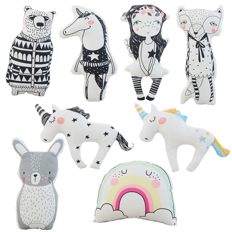 Baby Cute Horse, Fox, Rabbit, Bear Unicorn Pillow Stuffed Soft Animal Toys Kawaii Shaped Doll Kids Bedroom Decoration Gift bookfong 1pc 35cm simulation horse plush toy stuffed animal horse doll prop toys great gift for children
