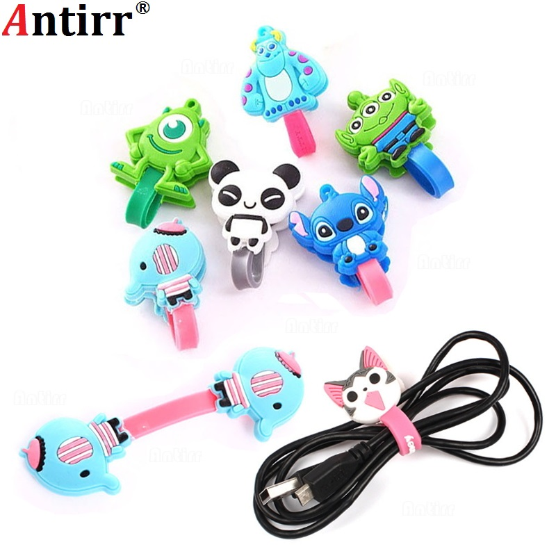 Multipurpose Cartoon Charger USB Cable Bobbin Winder Data line Protector Earphone Wire Cord Organizer Management fastener fixer stylish auto cable wire cord organizer smart wrap bobbin winder for earphone