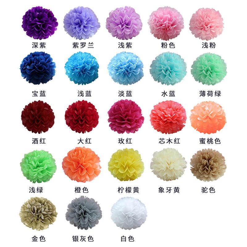 """6 """"15 Cm Suruh Keputusan Pengaruh Kertas Tisu Pom Pom Sebagai Bunga Bola untuk Dekorasi Ruang Pernikahan Perlengkapan Pesta DIY Putih Gantung bunga Kertas"""
