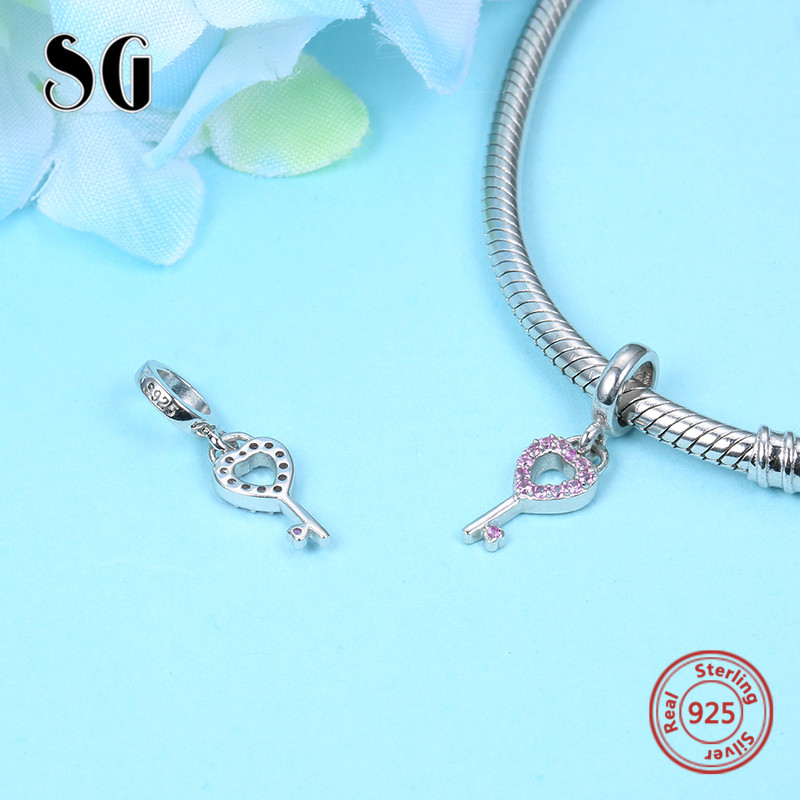 Sterling Silver 925 Lock of Love and Heart Key beads with CZ Fit authentic pandora bracelets diy Jewelry making for women Gifts in Beads from Jewelry Accessories