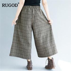 Image 3 - RUGOD 2019 moda ekose kadın pantolon yüksek bel geniş bacak pantolon rahat gevşek kadın pantolon pantalones mujer cintura alta