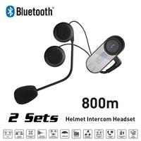 New 2 Sets 800M LCD Screen FM Bluetooth Motorcycle Snowmobile Helmet Intercom Headset For Phone GPS