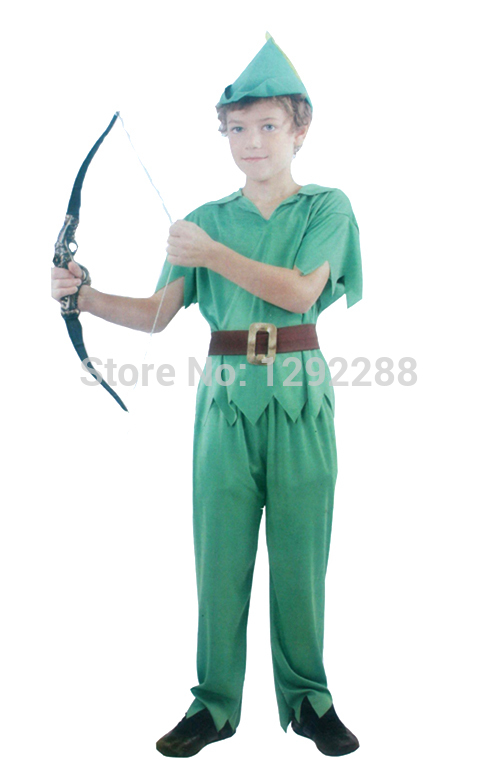 Free shipping,children green fairy costumes for boys halloween cosplay Peter Pan green elf costume cute cosplay performance wear