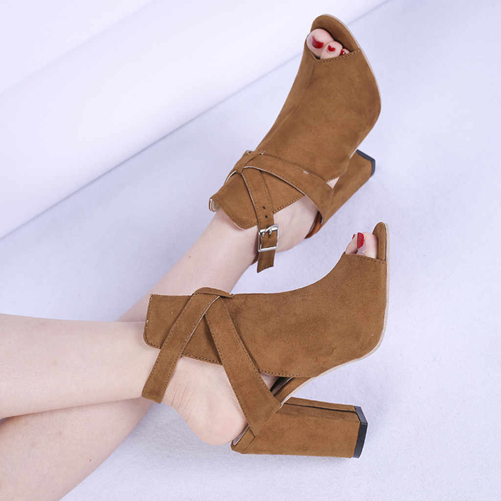รองเท้าข้อเท้าเปิด toe western รองเท้าบูทคาวบอยสตรีสูงรองเท้าส้นสูง korte laarzen dames 2019 7 #3.5