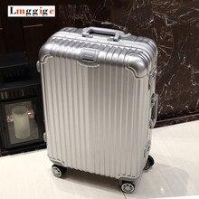 Roues universelles cadre en aluminium + PC shell Bagages, enregistré vérifié chariot Valise, mot de passe CADENAS TSA haute qualité voyage sac
