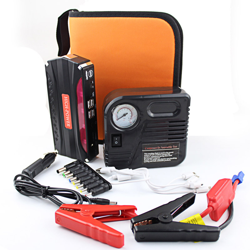 Car jump starter with pump auto vehicle motorcycle emergency battery jumper start power bank for phone laptop tablet pc