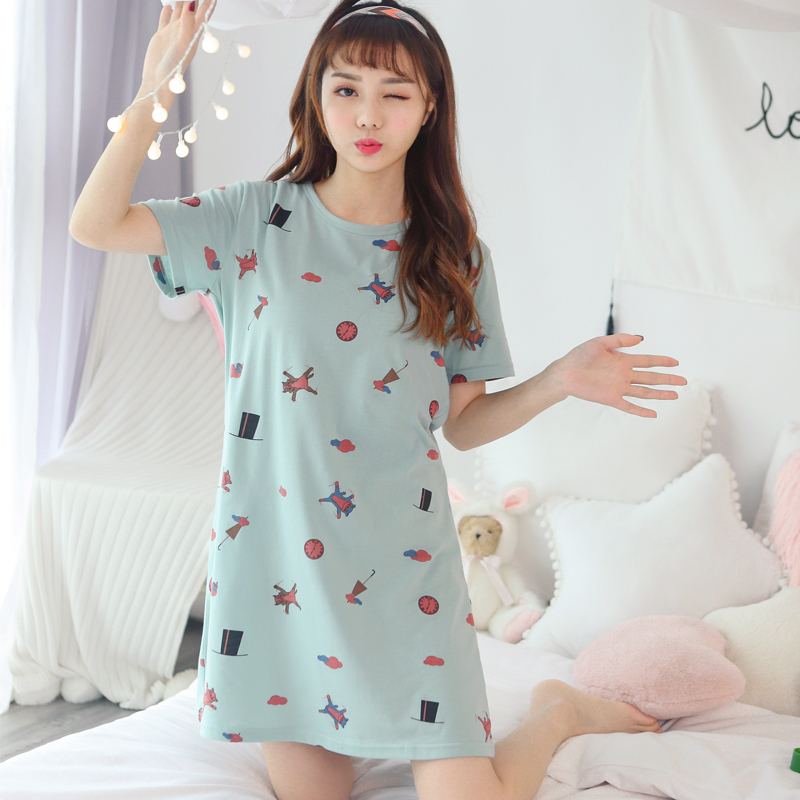 New Sweet Young Women Cotton Nightgowns Printed Short Sleeve Round ...